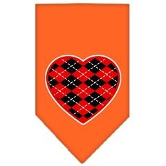Mirage Pet Products Argyle Heart Red Screen Print Bandana Orange Small