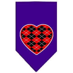 Mirage Pet Products Argyle Heart Red Screen Print Bandana Purple Small