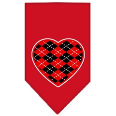 Mirage Pet Products Argyle Heart Red Screen Print Bandana Red Small
