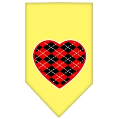 Mirage Pet Products Argyle Heart Red Screen Print Bandana Yellow Large