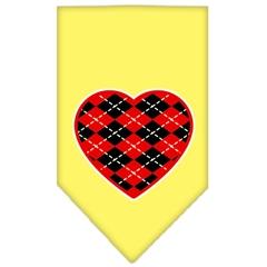 Mirage Pet Products Argyle Heart Red Screen Print Bandana Yellow Small