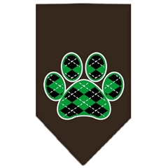 Mirage Pet Products Argyle Paw Green Screen Print Bandana Cocoa Small