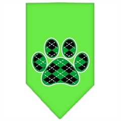 Mirage Pet Products Argyle Paw Green Screen Print Bandana Lime Green Small