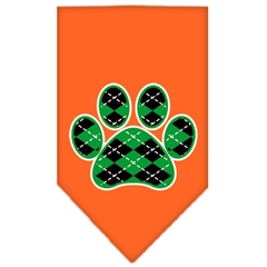 Mirage Pet Products Argyle Paw Green Screen Print Bandana Orange Large