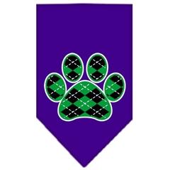 Mirage Pet Products Argyle Paw Green Screen Print Bandana Purple Small