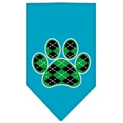 Mirage Pet Products Argyle Paw Green Screen Print Bandana Turquoise Small