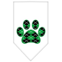 Mirage Pet Products Argyle Paw Green Screen Print Bandana White Large