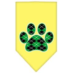 Mirage Pet Products Argyle Paw Green Screen Print Bandana Yellow Large