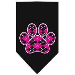 Mirage Pet Products Argyle Paw Pink Screen Print Bandana Black Large