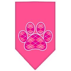 Mirage Pet Products Argyle Paw Pink Screen Print Bandana Bright Pink Large