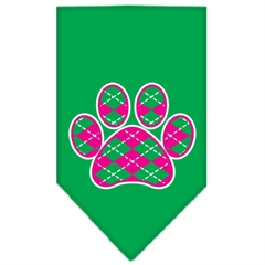Mirage Pet Products Argyle Paw Pink Screen Print Bandana Emerald Green Large
