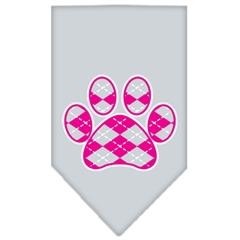 Mirage Pet Products Argyle Paw Pink Screen Print Bandana Grey Large