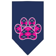 Mirage Pet Products Argyle Paw Pink Screen Print Bandana Navy Blue Small