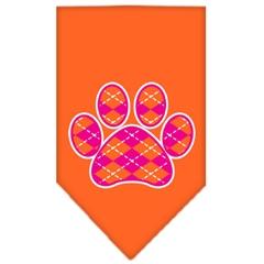 Mirage Pet Products Argyle Paw Pink Screen Print Bandana Orange Large