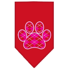 Mirage Pet Products Argyle Paw Pink Screen Print Bandana Red Small