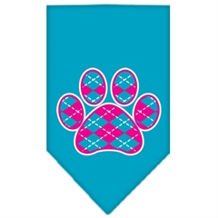 Mirage Pet Products Argyle Paw Pink Screen Print Bandana Turquoise Large