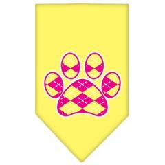 Mirage Pet Products Argyle Paw Pink Screen Print Bandana Yellow Large