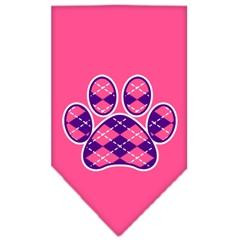 Mirage Pet Products Argyle Paw Purple Screen Print Bandana Bright Pink Large