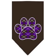 Mirage Pet Products Argyle Paw Purple Screen Print Bandana Cocoa Small