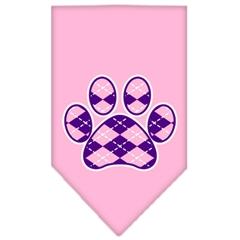 Mirage Pet Products Argyle Paw Purple Screen Print Bandana Light Pink Large