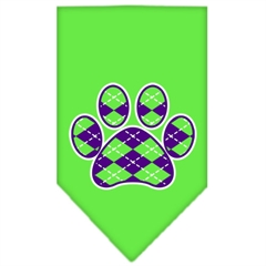 Mirage Pet Products Argyle Paw Purple Screen Print Bandana Lime Green Large