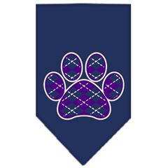 Mirage Pet Products Argyle Paw Purple Screen Print Bandana Navy Blue large