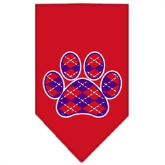 Mirage Pet Products Argyle Paw Purple Screen Print Bandana Red Small