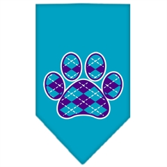 Mirage Pet Products Argyle Paw Purple Screen Print Bandana Turquoise Large