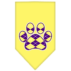 Mirage Pet Products Argyle Paw Purple Screen Print Bandana Yellow Small