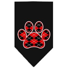 Mirage Pet Products Argyle Paw Red Screen Print Bandana Black Small