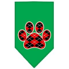Mirage Pet Products Argyle Paw Red Screen Print Bandana Emerald Green Large