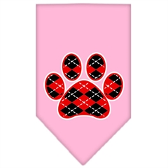 Mirage Pet Products Argyle Paw Red Screen Print Bandana Light Pink Large