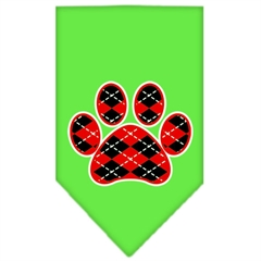 Mirage Pet Products Argyle Paw Red Screen Print Bandana Lime Green Large
