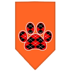 Mirage Pet Products Argyle Paw Red Screen Print Bandana Orange Large