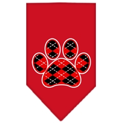 Mirage Pet Products Argyle Paw Red Screen Print Bandana Red Large