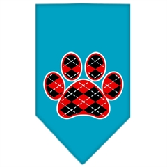 Mirage Pet Products Argyle Paw Red Screen Print Bandana Turquoise Large
