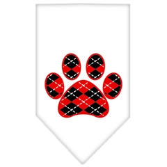 Mirage Pet Products Argyle Paw Red Screen Print Bandana White Large