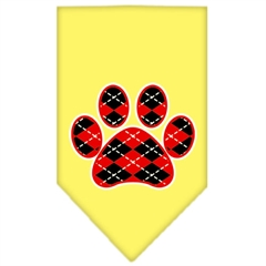 Mirage Pet Products Argyle Paw Red Screen Print Bandana Yellow Large