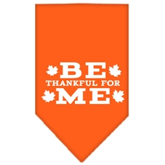 Mirage Pet Products Be Thankful for Me Screen Print Bandana Orange Small