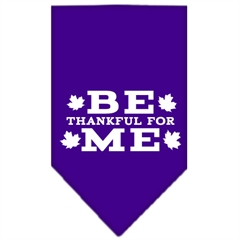Mirage Pet Products Be Thankful for Me Screen Print Bandana Purple Large