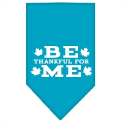 Mirage Pet Products Be Thankful for Me Screen Print Bandana Turquoise Large