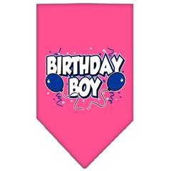 Mirage Pet Products Birthday Boy Screen Print Bandana Bright Pink Large