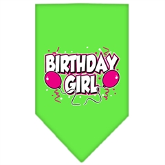 Mirage Pet Products Birthday girl Screen Print Bandana Lime Green Large