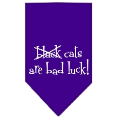 Mirage Pet Products Black Cats are Bad Luck Screen Print Bandana Purple Small