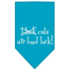 Mirage Pet Products Black Cats are Bad Luck Screen Print Bandana Turquoise Large