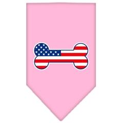 Mirage Pet Products Bone Flag American Screen Print Bandana Light Pink Large
