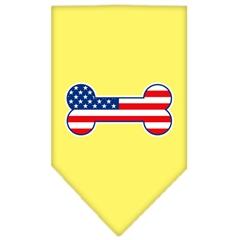 Mirage Pet Products Bone Flag American Screen Print Bandana Yellow Small