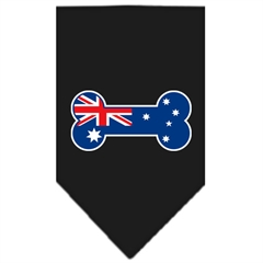 Mirage Pet Products Bone Flag Australian  Screen Print Bandana Black Small