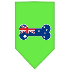 Mirage Pet Products Bone Flag Australian  Screen Print Bandana Lime Green Large