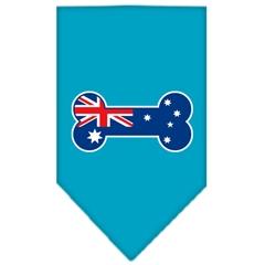 Mirage Pet Products Bone Flag Australian  Screen Print Bandana Turquoise Small